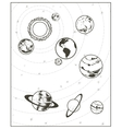 Black drawing solar system vector image