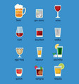 set of different drinks cocktails and beer vector image