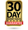 30 day money back guarantee golden sign vector image vector image