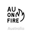 australia on fire abstract logo icon symbol vector image