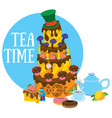 big cake and pastries tea party refreshments to vector image vector image