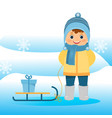 boy in winter clothes with sled on blue background vector image