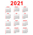 calendar new year 2021 vector image