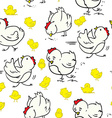 cartoon chicken pattern vector image vector image