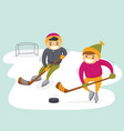 caucasian boys playing hockey on outdoor rink vector image vector image