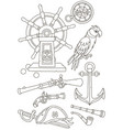 collection of old pirate weapons and things vector image