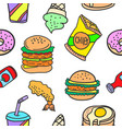 collection stock of various food doodles vector image vector image