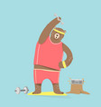 cute bear cartoon character doing exercises vector image