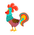 cute cock cartoon on white board rooster portrait vector image