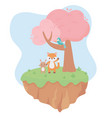 cute little fox rabbit and parrot on branch tree vector image vector image
