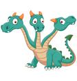 Cute three headed dragon vector image vector image