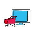 desktop computer with cart shopping vector image vector image