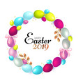 easter wreath with realistic colorful eggs gold vector image vector image