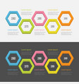 five step timeline infographic set colorful 3d vector image vector image