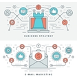 Flat line Business Strategy and Marketing vector image vector image