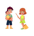flat man and infant baby girl with broom vector image vector image