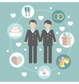 Happy gay couple in wedding attire and casual vector image