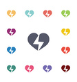 heart lightning flat icons set vector image
