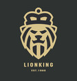 lion head logo template on a dark background vector image vector image