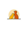 logo of dogs sitting on their place outlines vector image vector image