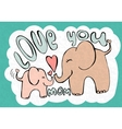 love you mom greetings card with cute animals vector image