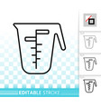 measuring cup simple black line icon vector image vector image