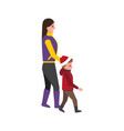 mother and child in warm winter cloth side view vector image vector image