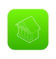 museum building icon green vector image