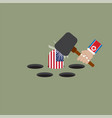 north korean trying to hit the america flag vector image vector image