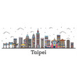 outline taipei taiwan city skyline with color vector image