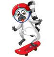raccoon playing skateboard character vector image