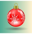 red Christmas ball with snowflakes vector image vector image