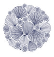 round hand drawn shell composition vector image