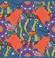 seamless pattern blue orange and purple fish vector image