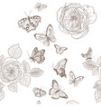 seamless pattern of wild roses blossom branch and vector image