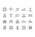 set farming and agriculture line icons farmer vector image