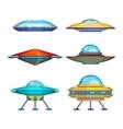 Set of cartoon funny aliens spaceships vector image