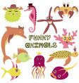 set of hand-drawn color amusing marine animals vector image vector image