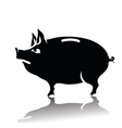 silhouette of piggy bank vector image vector image