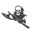 smiling skull in hood with executioner axe vector image
