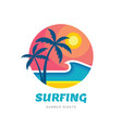 surfing summer nights - concept business logo vector image vector image