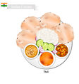 Thali or Indian Steamed Rice Flatbread and Lentil vector image vector image