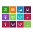 TV icons on color background vector image