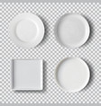 White plate set isolated on transparent background vector image