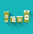 flat icons of cosmetics containers with long vector image