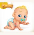 cute kid baby 3d icon vector image
