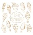 Hand drawing set of ice cream vector image