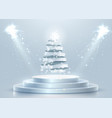 abstract round podium with christmas tree made vector image