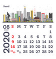 august 2020 calendar template with seoul city vector image vector image