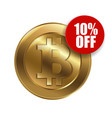 bitcoin sign with sale sign 10 percent vector image vector image